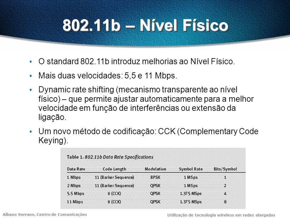 802.11b – Nível Físico O standard 802.11b introduz melhorias ao Nível Físico. Mais duas velocidades: 5,5 e 11 Mbps.
