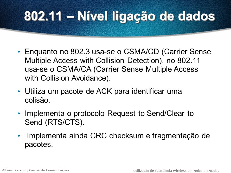 802.11 – Nível ligação de dados