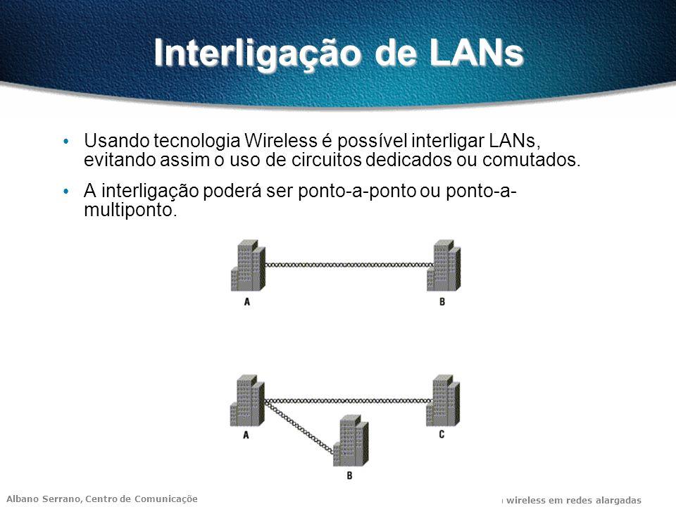 Interligação de LANs Usando tecnologia Wireless é possível interligar LANs, evitando assim o uso de circuitos dedicados ou comutados.