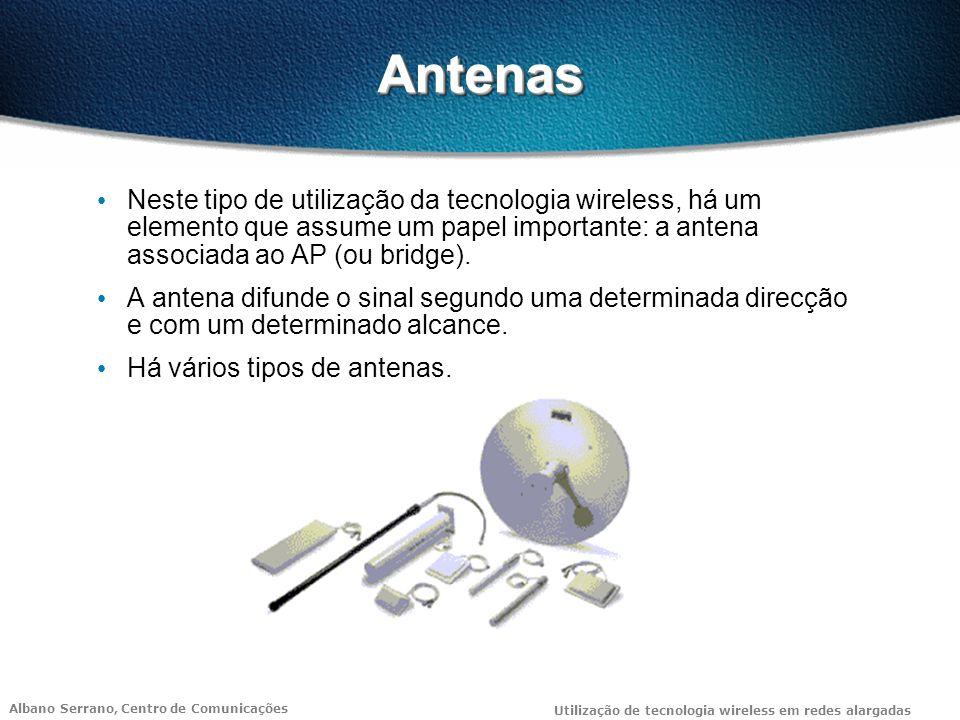 Antenas Neste tipo de utilização da tecnologia wireless, há um elemento que assume um papel importante: a antena associada ao AP (ou bridge).