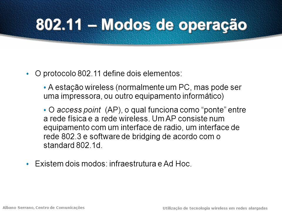 802.11 – Modos de operação O protocolo 802.11 define dois elementos: