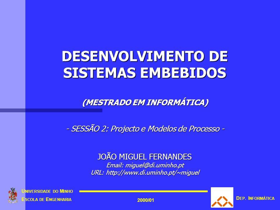 DESENVOLVIMENTO DE SISTEMAS EMBEBIDOS (MESTRADO EM INFORMÁTICA) - SESSÃO 2: Projecto e Modelos de Processo - JOÃO MIGUEL FERNANDES Email: miguel@di.uminho.pt URL: http://www.di.uminho.pt/~miguel