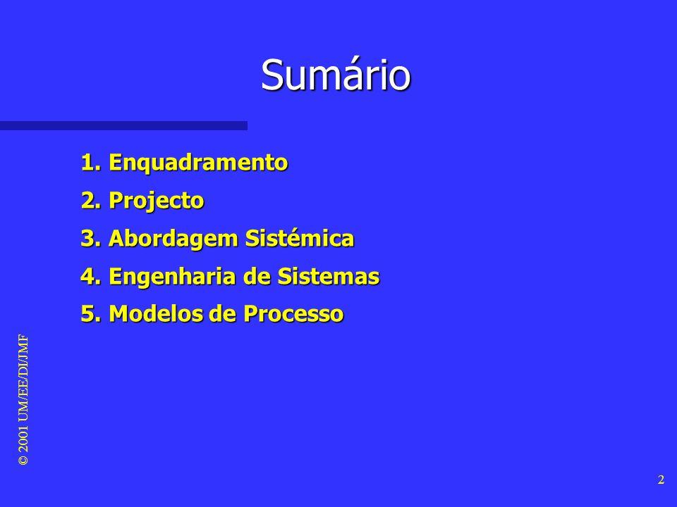 Sumário 1. Enquadramento 2. Projecto 3. Abordagem Sistémica