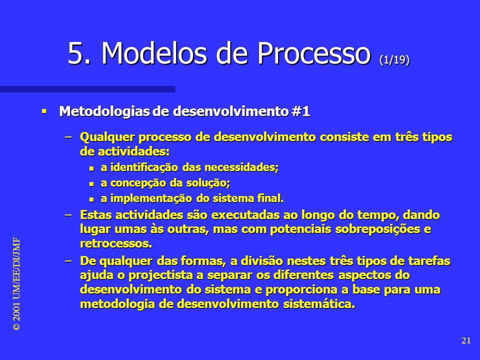 5. Modelos de Processo (1/19)