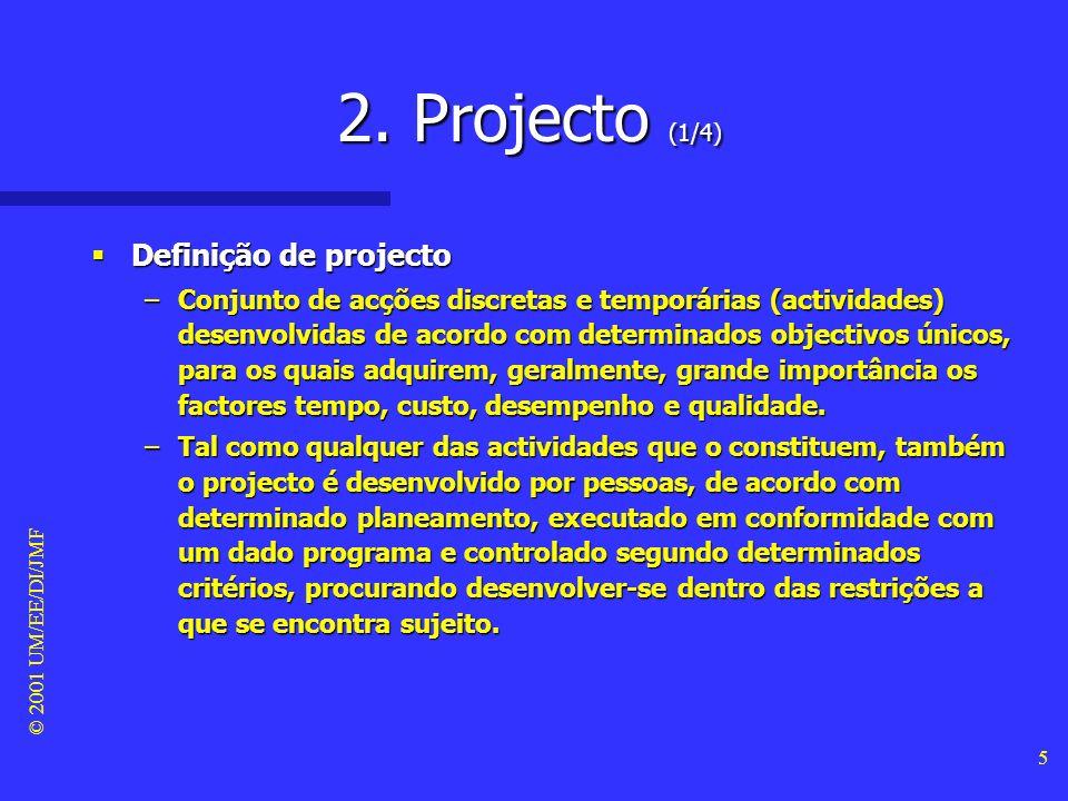 2. Projecto (1/4) Definição de projecto