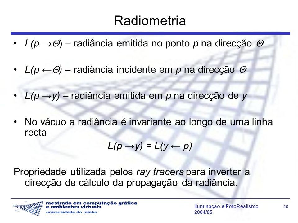 Radiometria L(p →) – radiância emitida no ponto p na direcção 