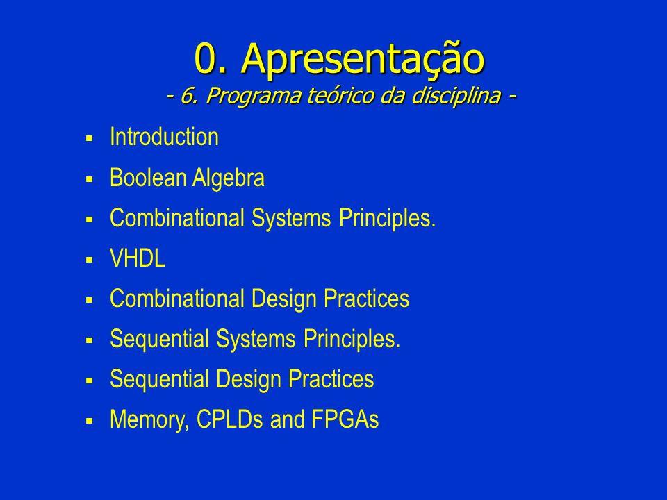 0. Apresentação - 6. Programa teórico da disciplina -