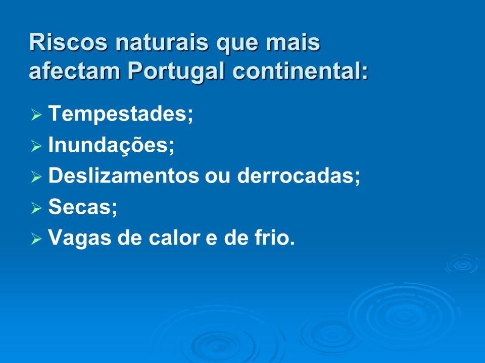 Riscos naturais que mais afectam Portugal continental: