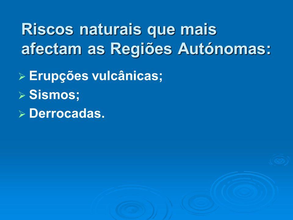 Riscos naturais que mais afectam as Regiões Autónomas: