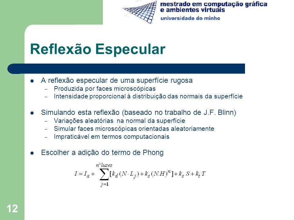 Reflexão Especular A reflexão especular de uma superfície rugosa
