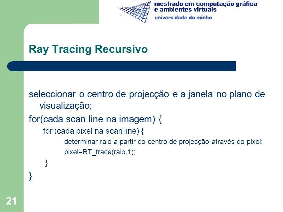 Ray Tracing Recursivo seleccionar o centro de projecção e a janela no plano de visualização; for(cada scan line na imagem) {