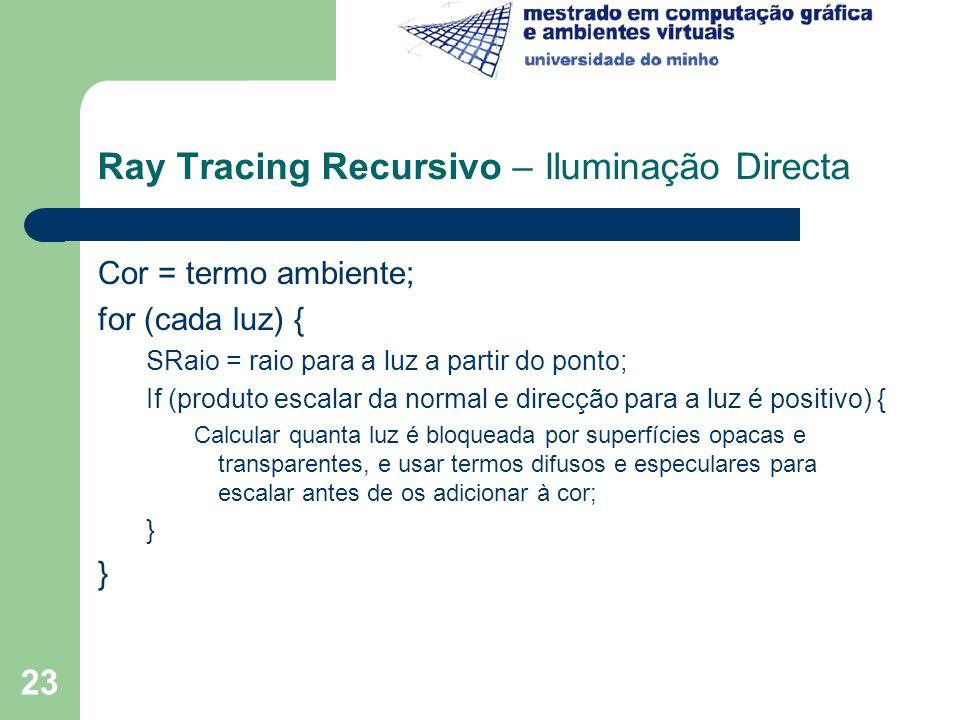 Ray Tracing Recursivo – Iluminação Directa