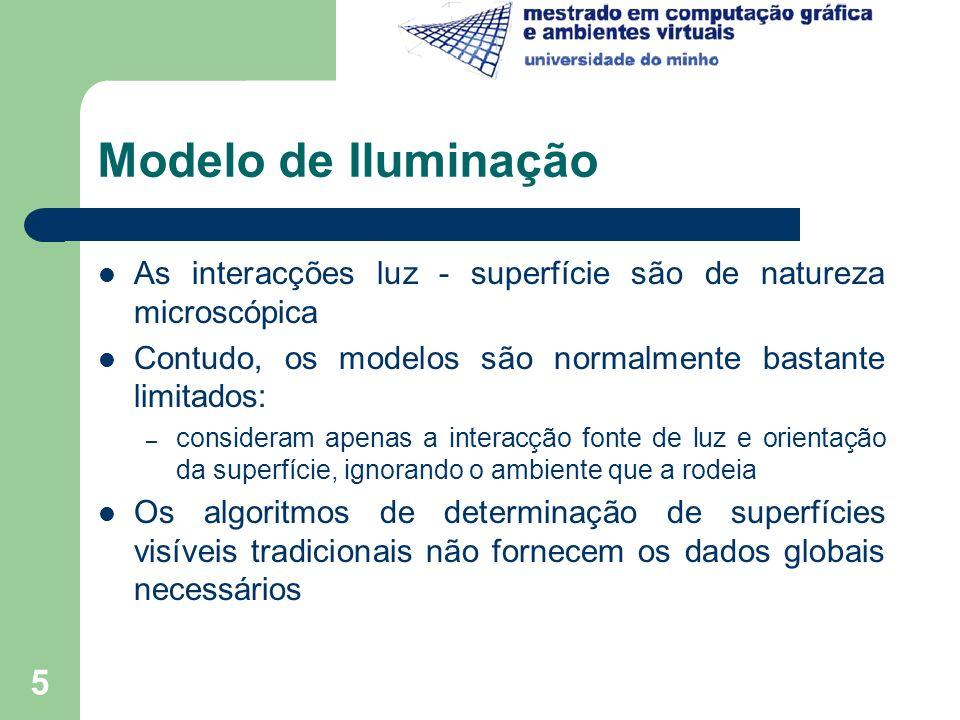Modelo de Iluminação As interacções luz - superfície são de natureza microscópica. Contudo, os modelos são normalmente bastante limitados: