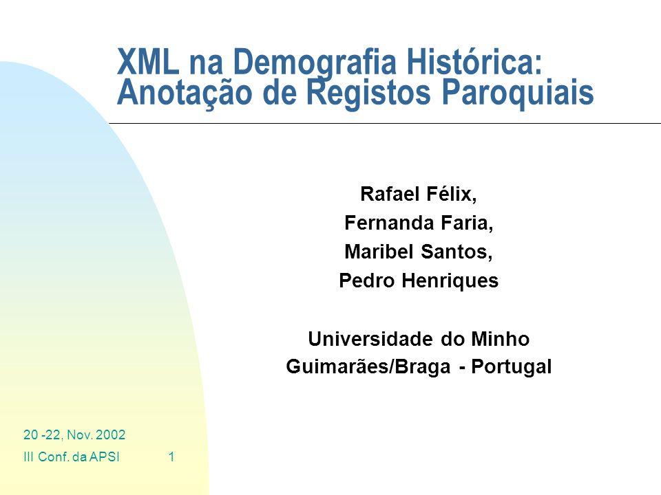 XML na Demografia Histórica: Anotação de Registos Paroquiais