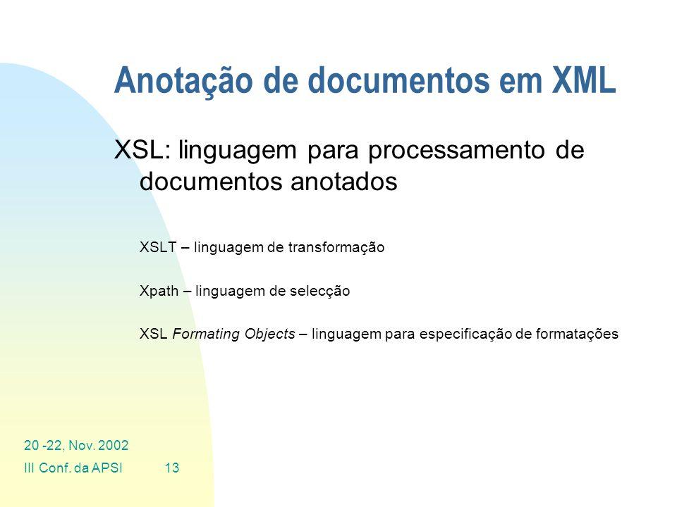 Anotação de documentos em XML