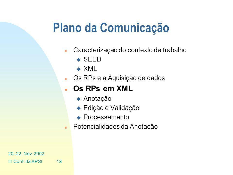 Plano da Comunicação Os RPs em XML