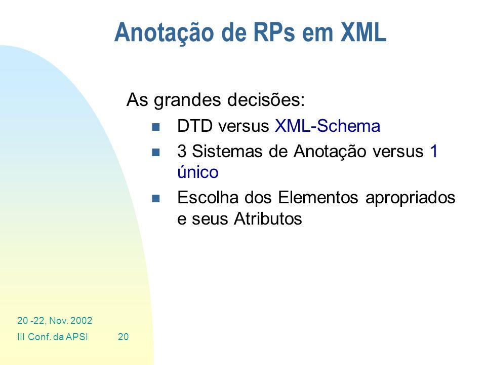 Anotação de RPs em XML As grandes decisões: DTD versus XML-Schema