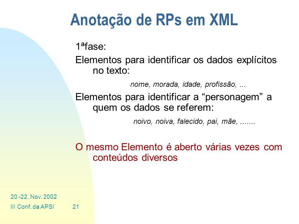 Anotação de RPs em XML 1ªfase: