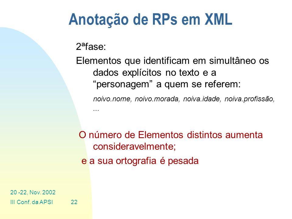 Anotação de RPs em XML 2ªfase: