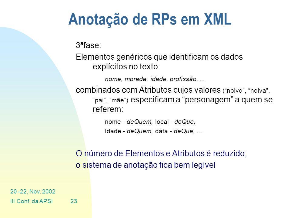 Anotação de RPs em XML 3ªfase: