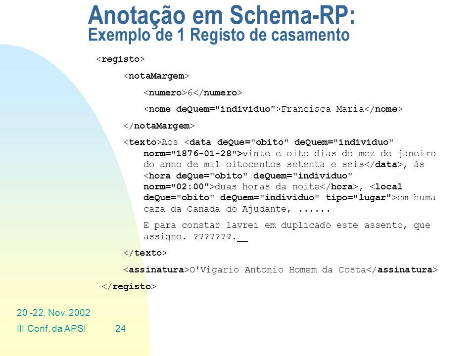 Anotação em Schema-RP: Exemplo de 1 Registo de casamento
