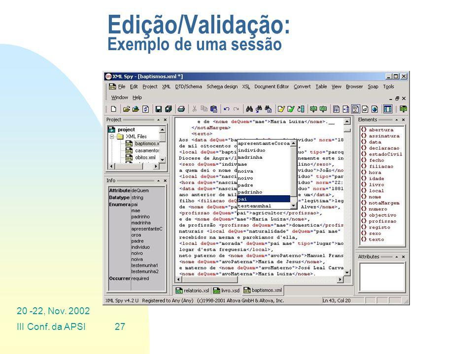 Edição/Validação: Exemplo de uma sessão