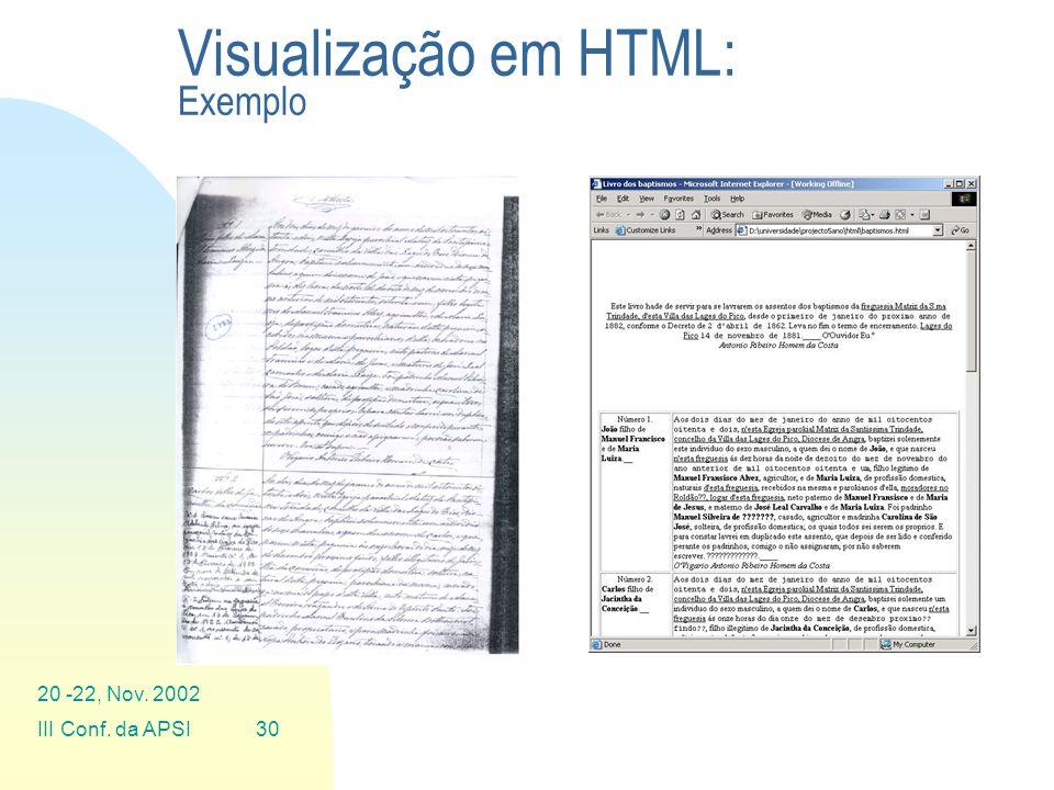 Visualização em HTML: Exemplo