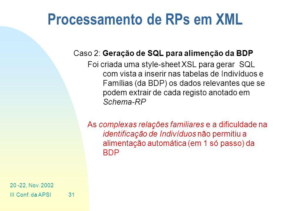 Processamento de RPs em XML