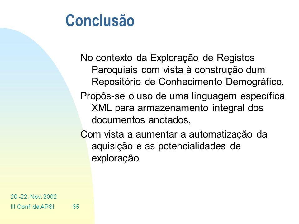 Conclusão No contexto da Exploração de Registos Paroquiais com vista à construção dum Repositório de Conhecimento Demográfico,