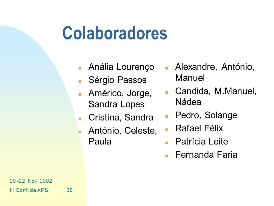 Colaboradores Anália Lourenço Sérgio Passos