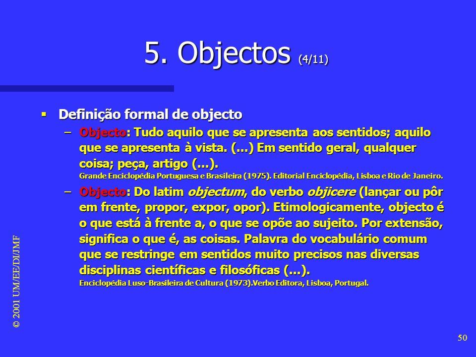 5. Objectos (4/11) Definição formal de objecto