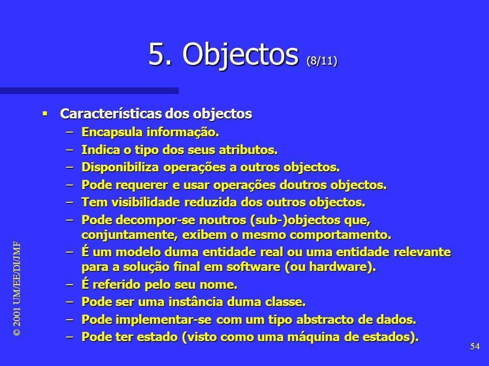5. Objectos (8/11) Características dos objectos Encapsula informação.