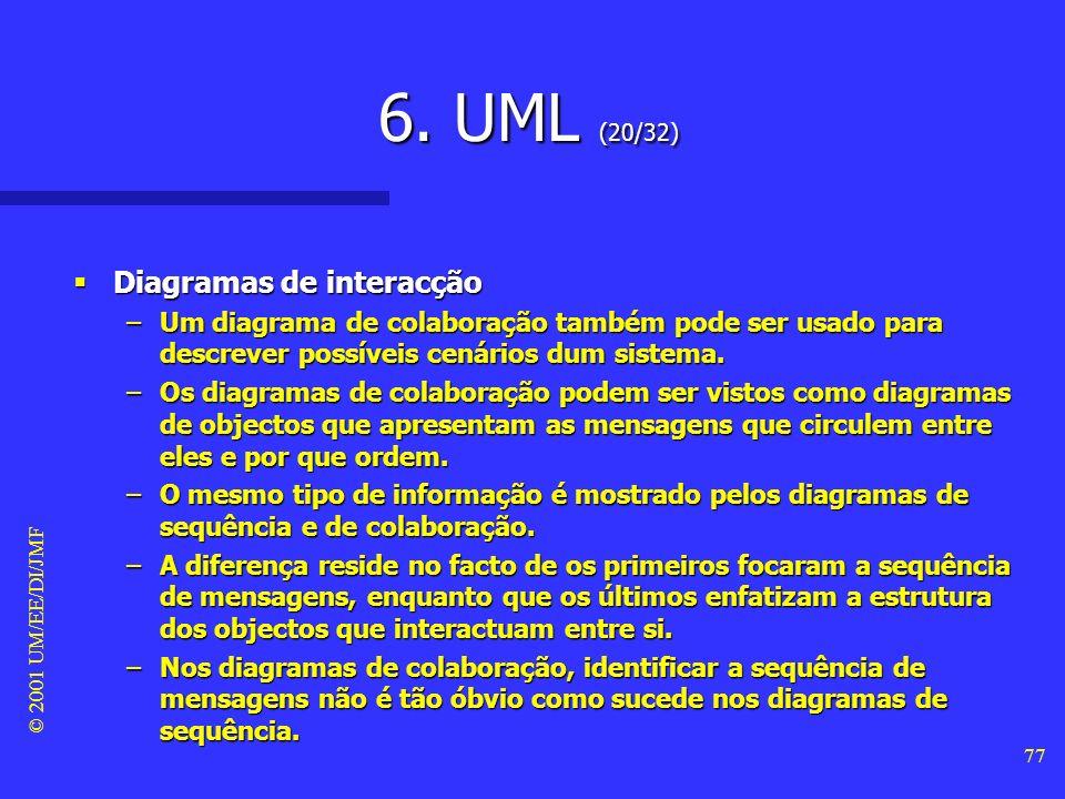 6. UML (20/32) Diagramas de interacção