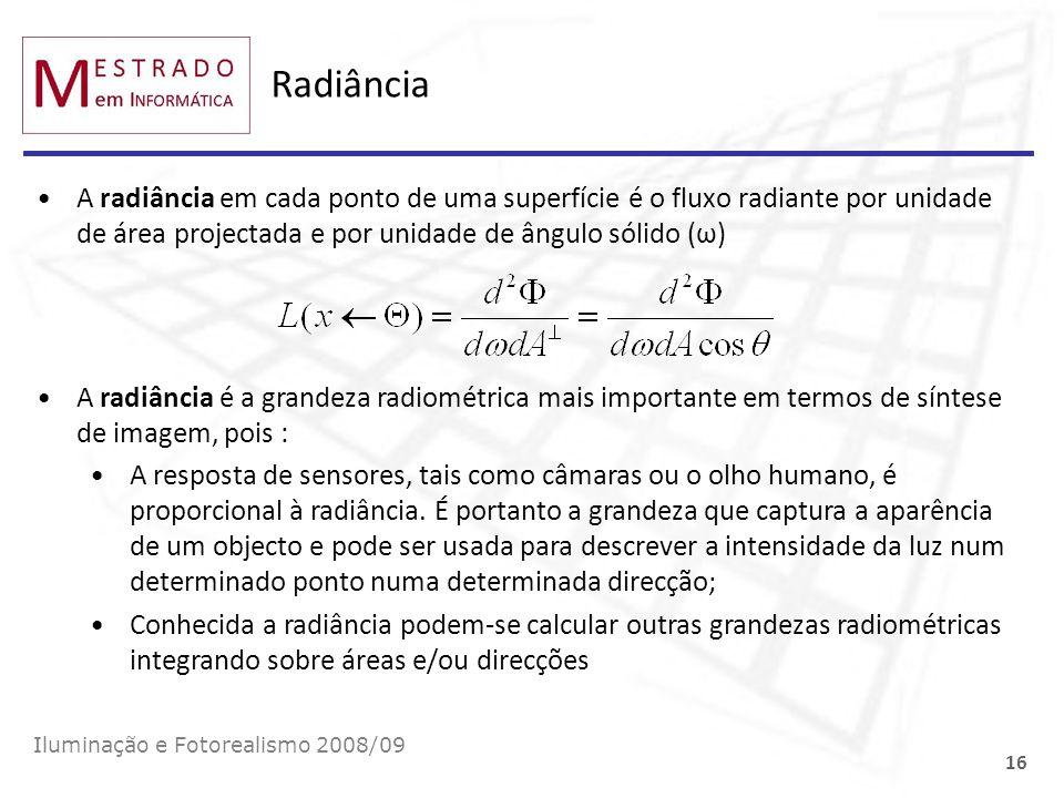 Radiância A radiância em cada ponto de uma superfície é o fluxo radiante por unidade de área projectada e por unidade de ângulo sólido (ω)