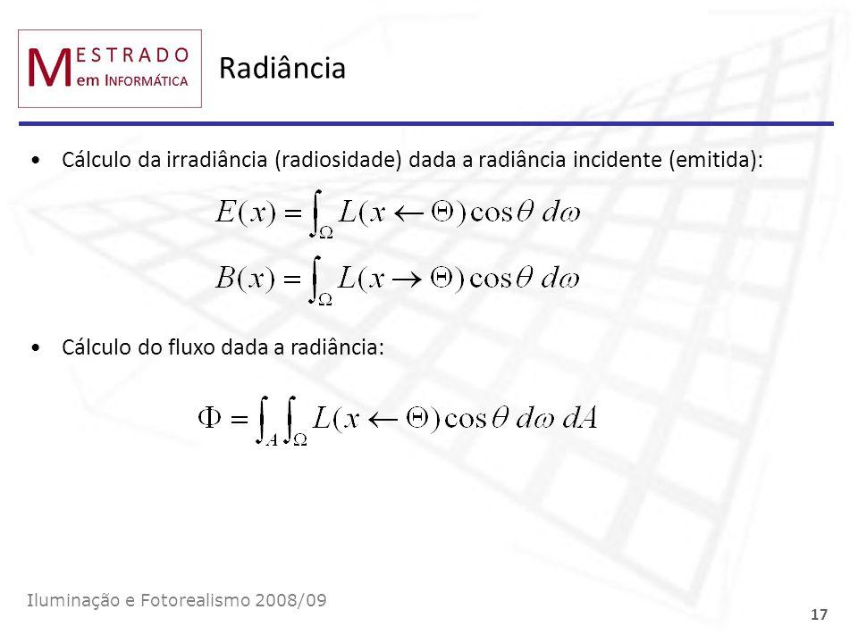 Radiância Cálculo da irradiância (radiosidade) dada a radiância incidente (emitida): Cálculo do fluxo dada a radiância: