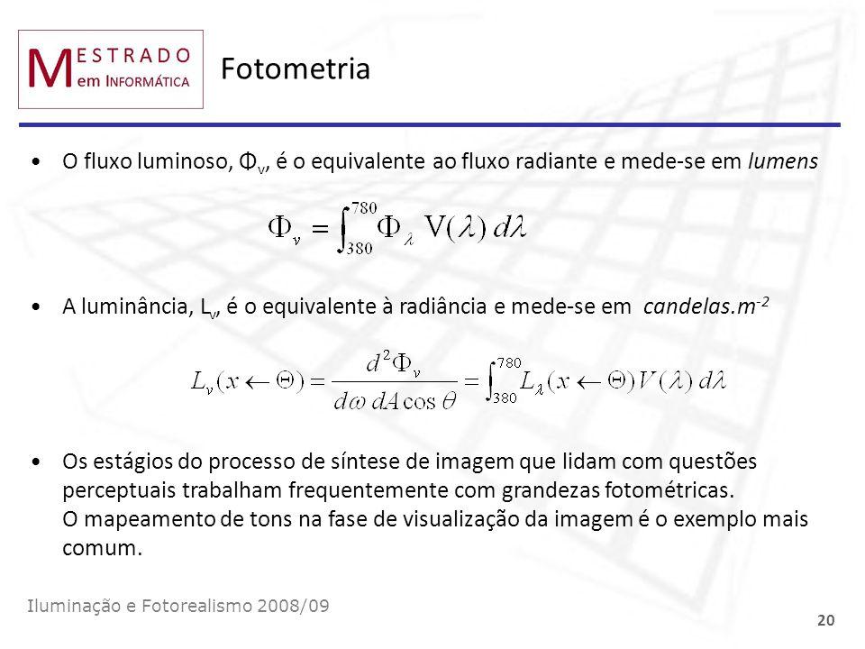 Fotometria O fluxo luminoso, Φv, é o equivalente ao fluxo radiante e mede-se em lumens.