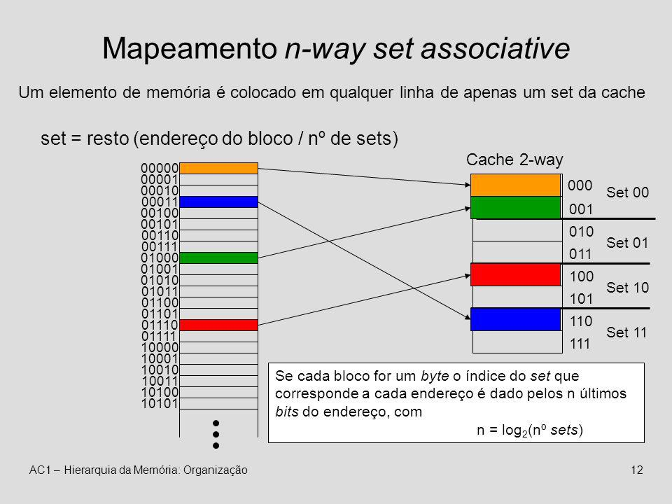 Mapeamento n-way set associative