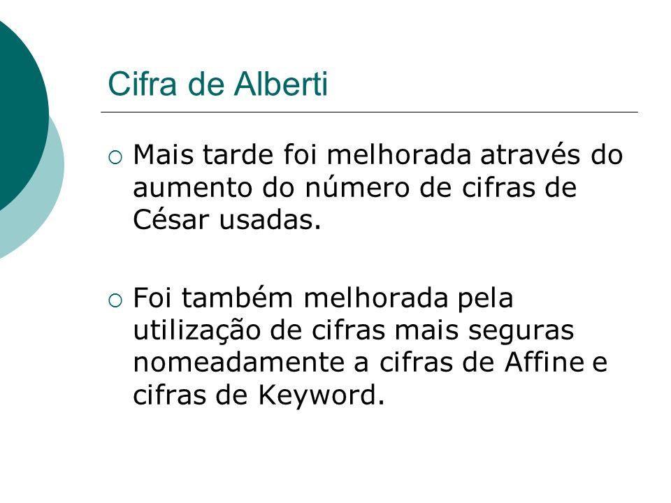 Cifra de AlbertiMais tarde foi melhorada através do aumento do número de cifras de César usadas.
