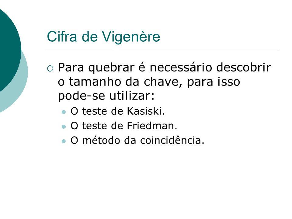 Cifra de VigenèrePara quebrar é necessário descobrir o tamanho da chave, para isso pode-se utilizar: