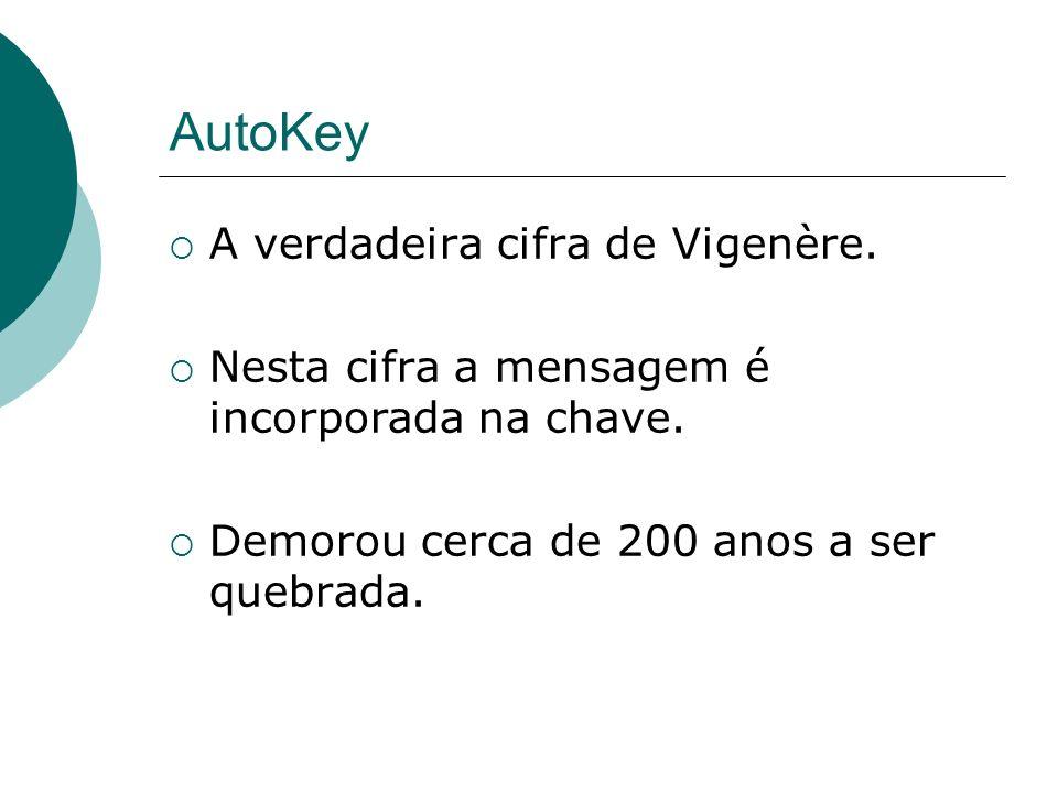 AutoKey A verdadeira cifra de Vigenère.