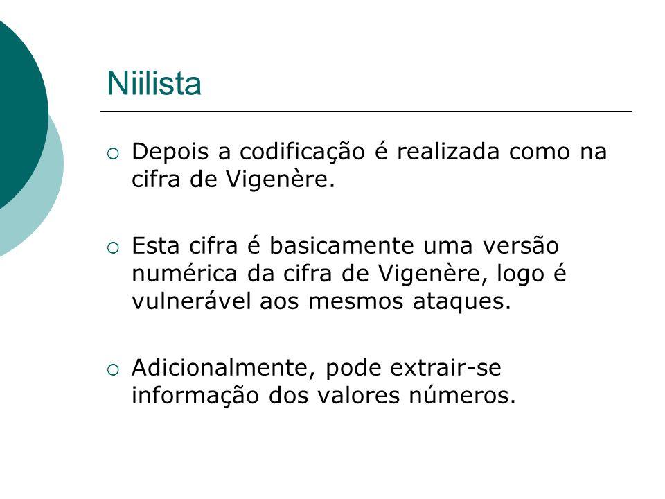 Niilista Depois a codificação é realizada como na cifra de Vigenère.