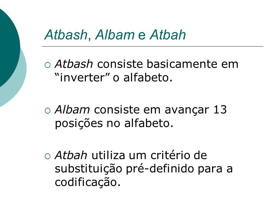 Atbash, Albam e AtbahAtbash consiste basicamente em inverter o alfabeto. Albam consiste em avançar 13 posições no alfabeto.