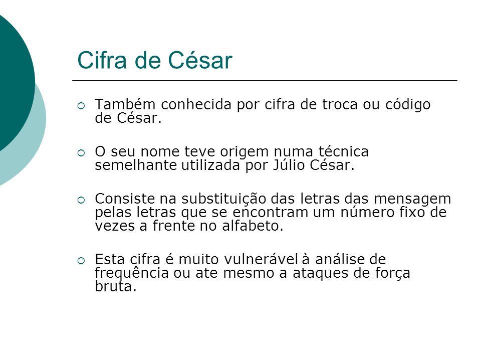 Cifra de César Também conhecida por cifra de troca ou código de César.