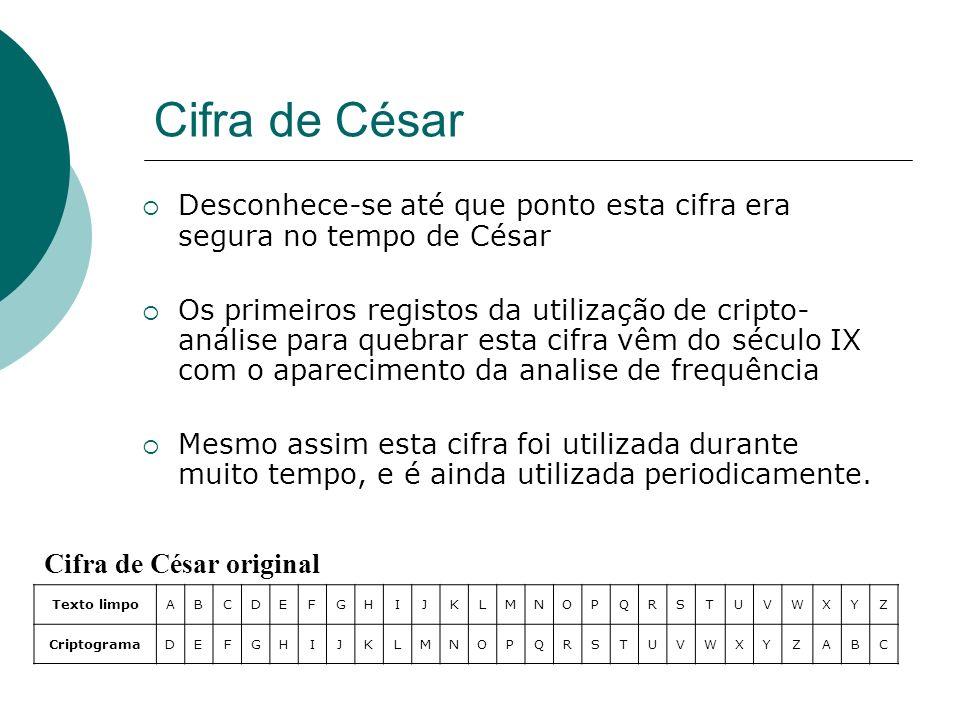 Cifra de César Desconhece-se até que ponto esta cifra era segura no tempo de César.