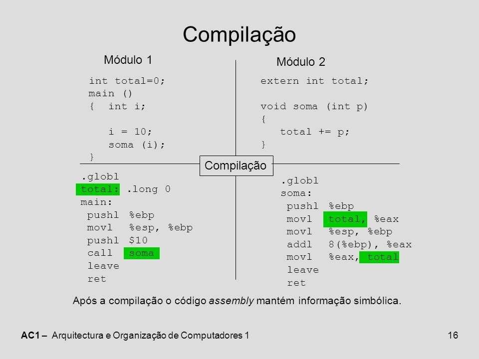 Compilação Módulo 1 Módulo 2 Compilação int total=0; main () { int i;