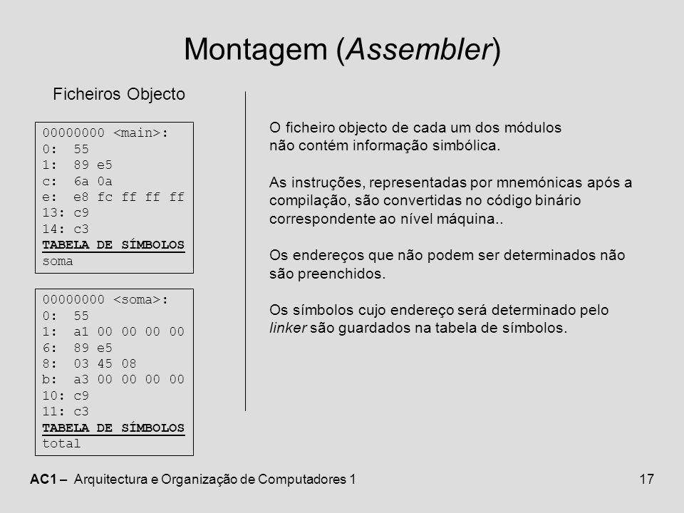 Montagem (Assembler) Ficheiros Objecto
