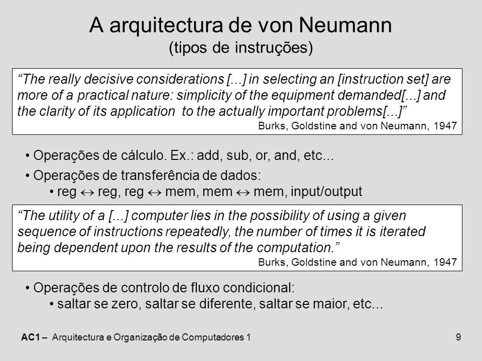 A arquitectura de von Neumann (tipos de instruções)