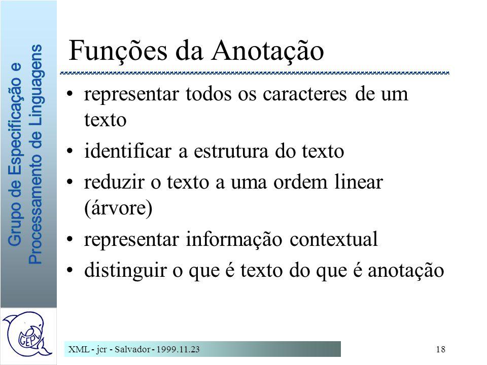 Funções da Anotação representar todos os caracteres de um texto