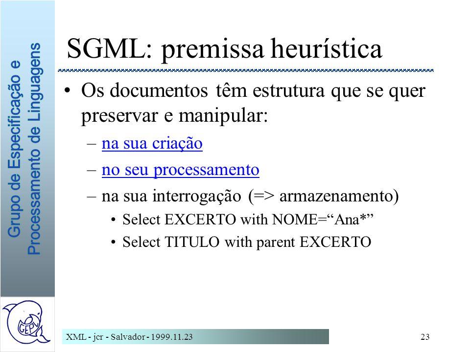 SGML: premissa heurística