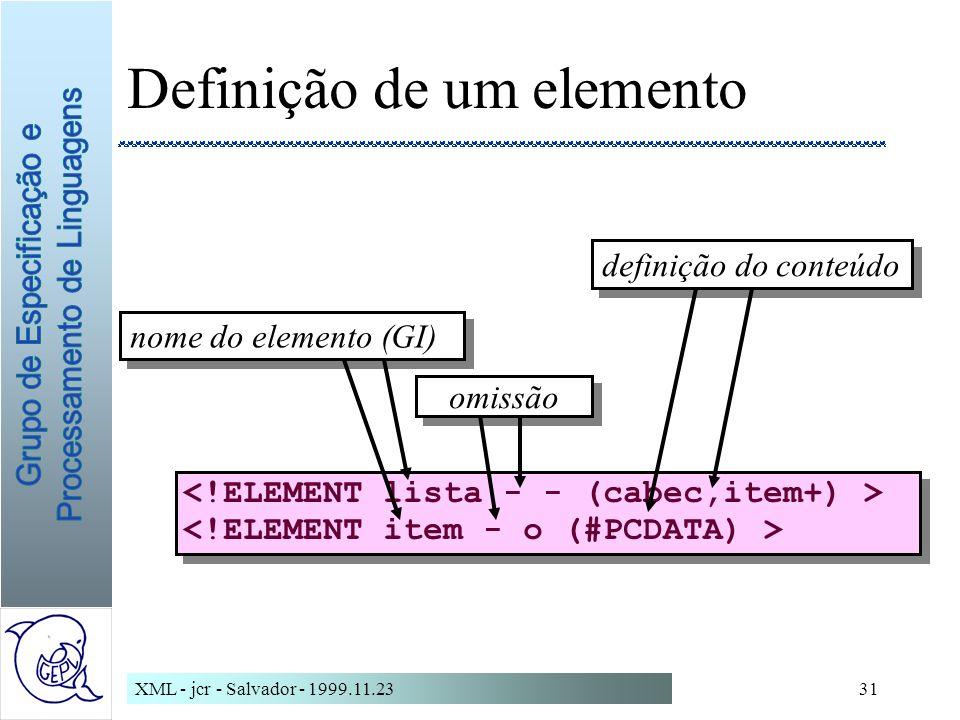Definição de um elemento